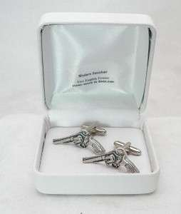 Revolver Cufflinks Pewter six shooter, hand gun, pistol