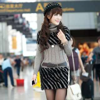 Knitted Long Tops T shirt Supper Mini Dress With Belt 6387#