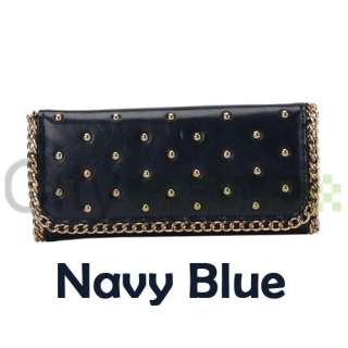 Elegant Women Button PU Leather Long Wallet Beige/Navy Blue/Brown/Red