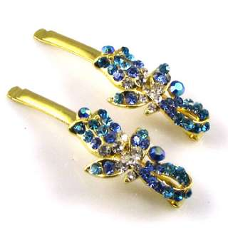 SHIPPING 2 Rhinestone crystal flower hair side clip pin wedding