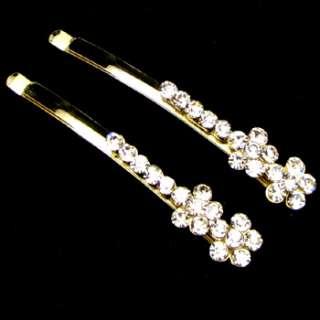 2 Rhinestone crystal fashion hair side clip pin wedding