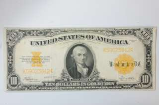 old 10 dollar bill series of 1928 gold certificate vintage usa