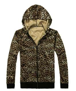 New Mens Fashion Slim Fit Leopard Hoodies Coat Jacket Z198