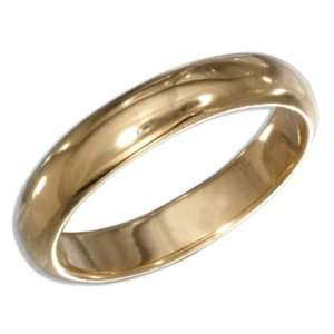 Sterling Silver High Polish 4mm Gold Plated Wedding Band Ring (size 11