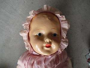 1920s Composition and Cloth Baby Girl Character Doll 23 Tall