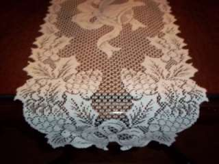 CREME IVORY TABLE RUNNER LACE 90 X 14 PINE CONE BELL CTRC254 CHRISTMAS