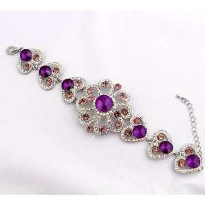 Wedding Prom Big Purple Crystal Rhinetone Flower Bracelet