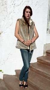 Vintage 80s Faux RABBIT Fur BOHO hippie plush Reversible VEST Gilet
