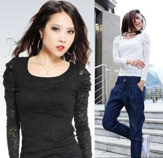 Fashion Chic Womens Ladies Lace Top Shirt Long Sleeve Full Lace Black