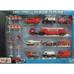 Die Cast Police and Fire Dept. Rescue Vehicle Playset Toys & Games