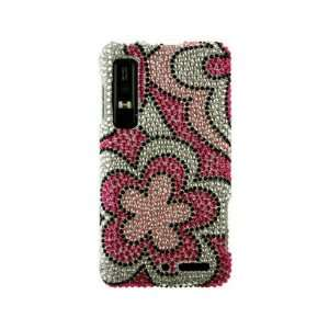 Cool Stylish Diamond Hot Pink Flower Image Design for Motorola DROID 3