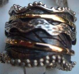 Israeli Silver Gold spinning ring jewelry swivel design