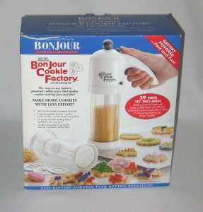 BONJOUR COOKIE FACTORY BATTERY POWERED 39 PIECE COOKIE PRESS & KIT NEW