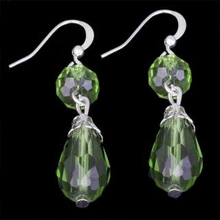 wholesale 15 color faceted crystal bead silver plated dangle earring