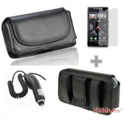 Leather Skin Pouch Case+Screen Guard+Car Charger for MOTOROLA DROID