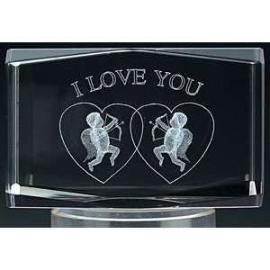 3d Laser Cut I Love You, Cupid & Hearts Crystal
