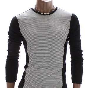 Doublju Mens Crew neck Stripes T Shirts Tee BLACK(AT999