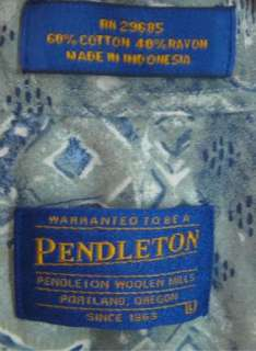 Pendleton s/s L large cotton rayon shirt mens
