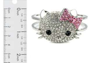 Crystal Hello Kitty Silver Bangle Bracelet Pink Bow 3D Lovely