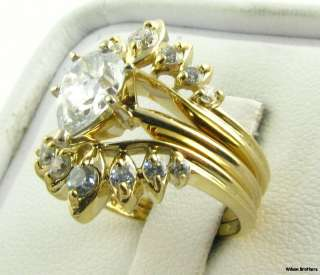 Ring & Wedding Band Set   Pear Shaped Solitaire 14k Yellow Gold A+