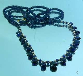 REAL FACETED ROYAL BLUE SAPPHIRE BRIOLETTE 14K NECKLACE