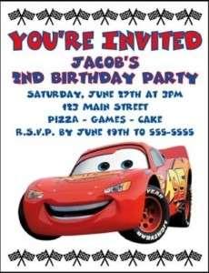 Custom CARS BIRTHDAY INVITATION   YOU PRINT or EMAIL