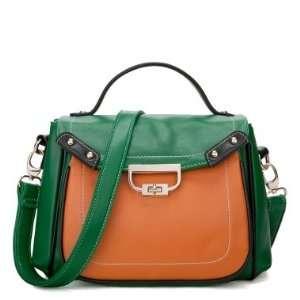 Faux Leather Purse Tote Satchel Shoulder Bag Handbag Colorful Multi