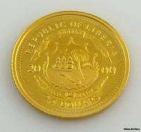 2000 LIBERIA $25 COIN   Solid Fine Gold George Washington Collectible