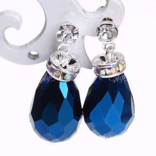 2X Dark Blue Crystal Glass Teardrop Dangle Stud Earring