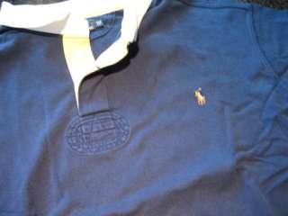 Mens RALPH LAUREN Navy Blue Long Sleeve RUGBY Shirt (3XLT)