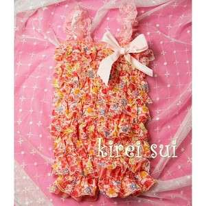 Baby Girls Colorful Pink Flower Lace Petti Rompers Romper Straps NB 3T