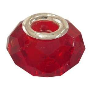 Faceted Glass European Large Hole Beads Fit Pandora Red
