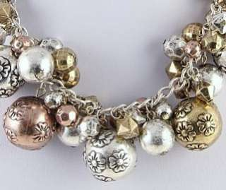Multi Tone ROSE GOLD SILVER FLOWER BEAD NECKLACE SET
