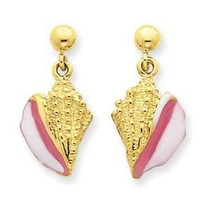 14k Yellow Gold Pink & White Enameled Conch Shell Dangle