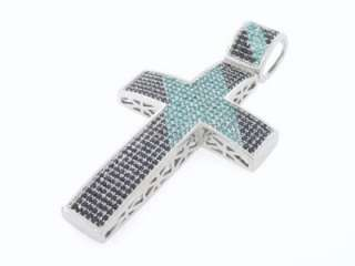 MENS 14K WHITE GOLD FINISH BLACK / BLUE CZ STONE CROSS