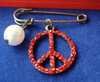 Rhinestone Imitation Pearl Peace Brooch Pin Badge B001