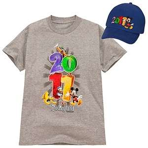 2011 Disneyland Resort Mickey Mouse & Friends Youth Shirt & Hat Set Sz