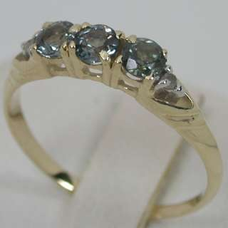 SOLID YELLOW GOLD NATURAL ALEXANDRITE TRILOGY BAND DIAMOND RING