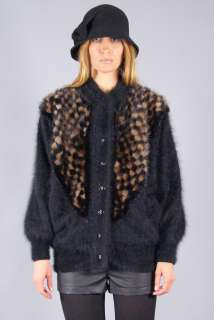 Vtg 80s MINK FUR Avant Garde ANGORA Beaded JACKET Sweater Coat