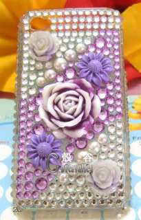 crystal 3d flower purple hard case cover iphone 3g 3gs 4 4g #69