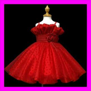 8ua1 RED NEW Flower Girls Pageant Wedding/Party/Dress 6 7age