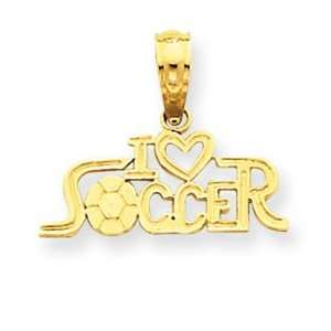 14k Yellow Gold I Heart Soccer Pendant Jewelry