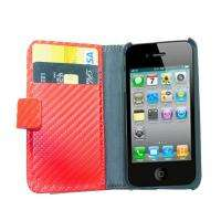 Red Credit Card Wallet Leather Case Skin for iPhone 4 4S