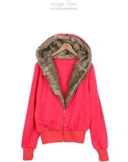 FAUX FUR LINED HOODED ZIP UP SWEATSHIRT celebrity jacket hoodie coat