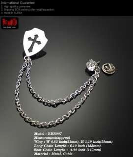 Shield Chain Brooch Badge Punk Goth Gothic Rock Emo G
