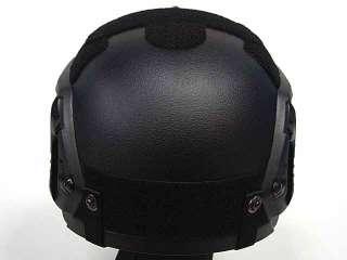 Airsoft IBH Helmet with NVG Mount & Side Rail Black BK