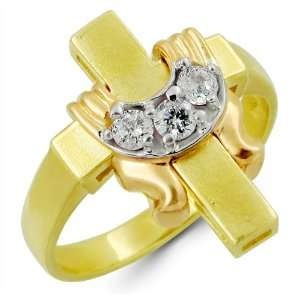 14k Solid Yellow Rose Gold Cross Drape 3 Stone Round CZ Cubic Zirconia