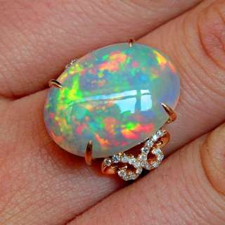 7Ct Natural Opal 18K Rose Gold Diamond Exquisite Rarely Seen Ring COL4