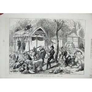 1873 Japanese Workmen Building Village Exhibition House