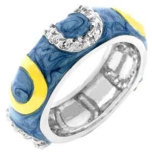 Horseshoes 14k White Gold Plated CZ Light Blue Ring Size 9